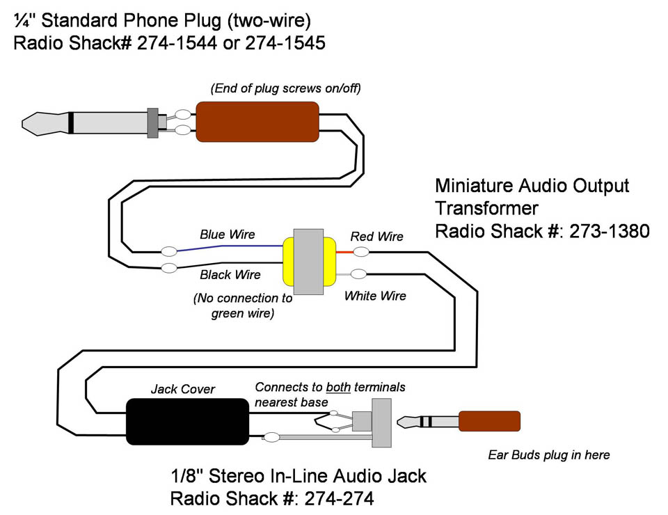 building a lightweight slimline headset this is cheap little radio shack transformer electrically the connection is very simple see this diagram